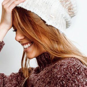 Free People Cozy In Stripes Beanie in Ivory